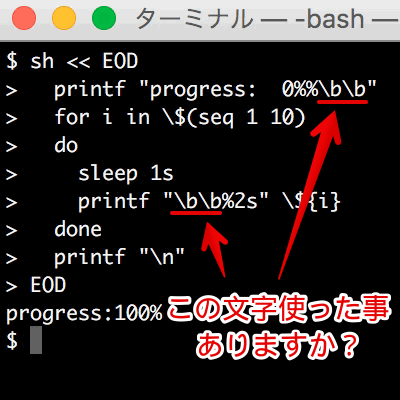 U+0008(BackSpace)を使ったプログラム