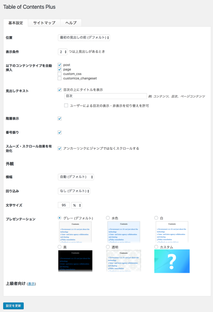 「Table of Contents Plus」の基本設定画面