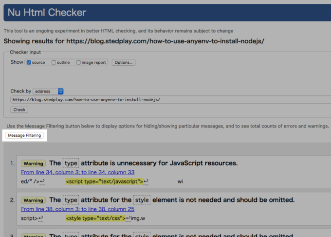 Nu Html Checkerの[Message Filtering]ボタン
