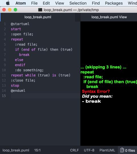 古いPlantUMLでbreak文を使ったUMLを表示