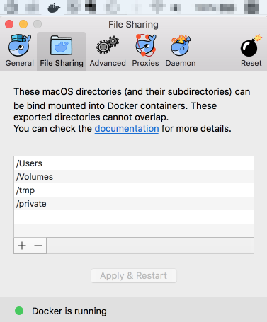 Docker for Macの[File Sharing]タブ