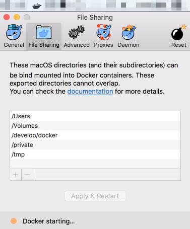 Docker for Macの設定を反映させるために再起動