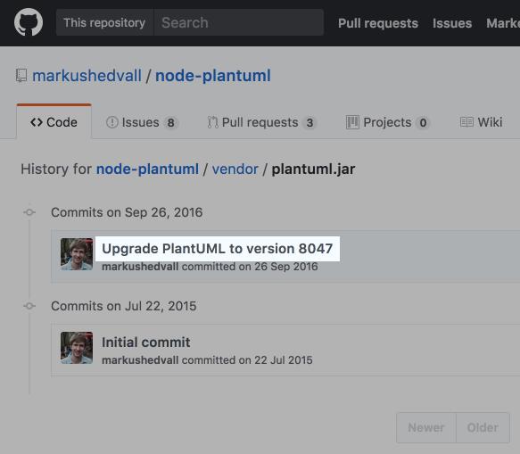 githubのnode-plantuml/plantuml.jarのコミットログ