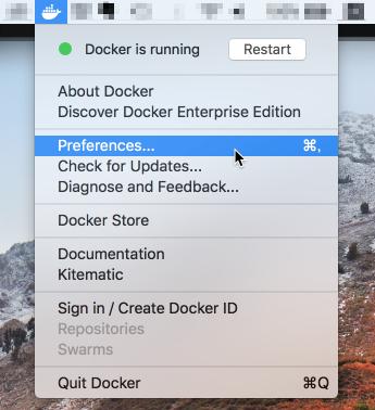 メニューバーからDocker for Macの設定を開く