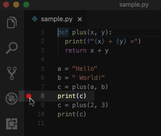 VSCodeでpythonプログラムにブレークポイントを設置する
