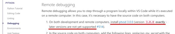 ptvsdは3.0.0をインストールする必要がある